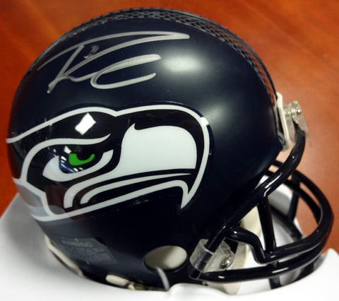 Russell Wilson Autographed Seattle Seahawks  Mini Helmet Signed in Silver RW Holo #71469