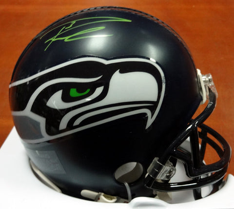 Russell Wilson Autographed Seattle Seahawks  Mini Helmet Signed in Green RW Holo #71470