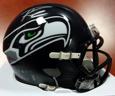 Russell Wilson Autographed Seattle Seahawks  Speed Mini Helmet Signed in Silver RW Holo #71468