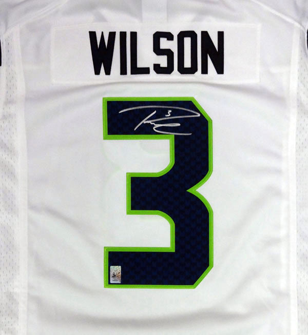 Russell Wilson Autographed Seattle Seahawks White Nike Twill Jersey Size L RW Holo Stock #90927