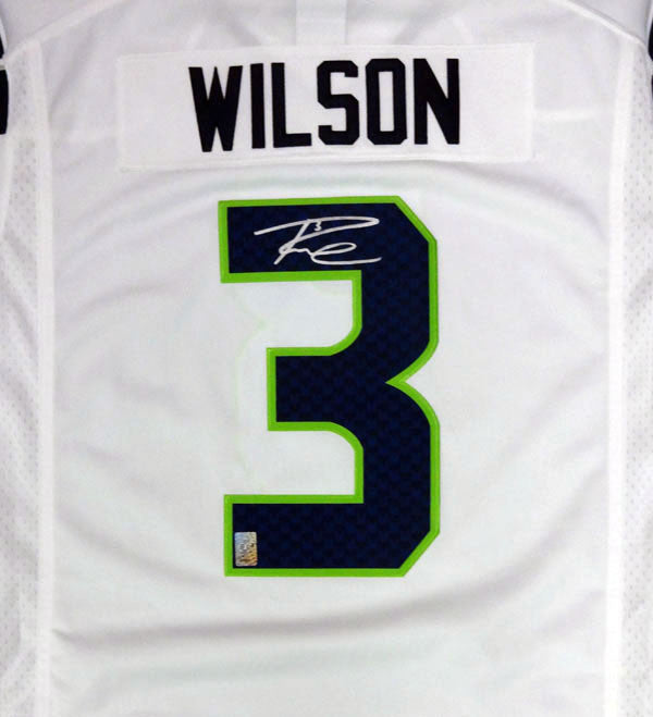 Russell Wilson Autographed Seattle Seahawks White Nike Twill Jersey Size XL RW Holo Stock #90928