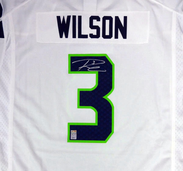 best authentic 4a716 f406f Russell Wilson Autographed Seattle Seahawks White Nike Jersey Size XXL RW  Holo Stock #90930