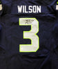 Russell Wilson Autographed Seattle Seahawks Nike Elite Authentic Blue Jersey Size 52 RW Holo