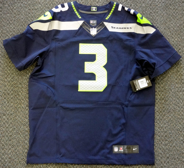 huge selection of 2f546 bdb0a Russell Wilson Autographed Seattle Seahawks Nike Elite Authentic Blue  Jersey Size 48 RW Holo