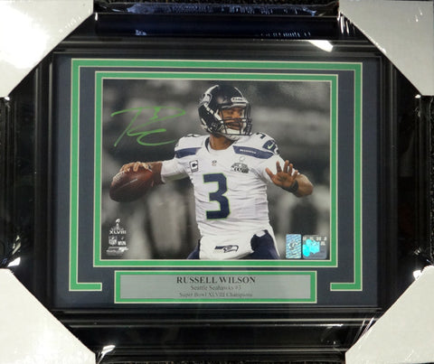 Russell Wilson Autographed Framed 8x10 Photo Seattle Seahawks Super Bowl RW Holo Stock #98097