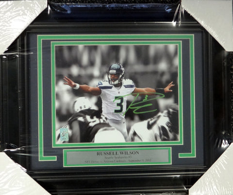 Russell Wilson Autographed Framed 8x10 Photo Seattle Seahawks First Game RW Holo Stock #98098
