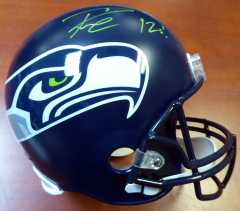 "Russell Wilson Autographed Seattle Seahawks Full Size Helmet ""12s"" In Green RW Holo Stock #104262"