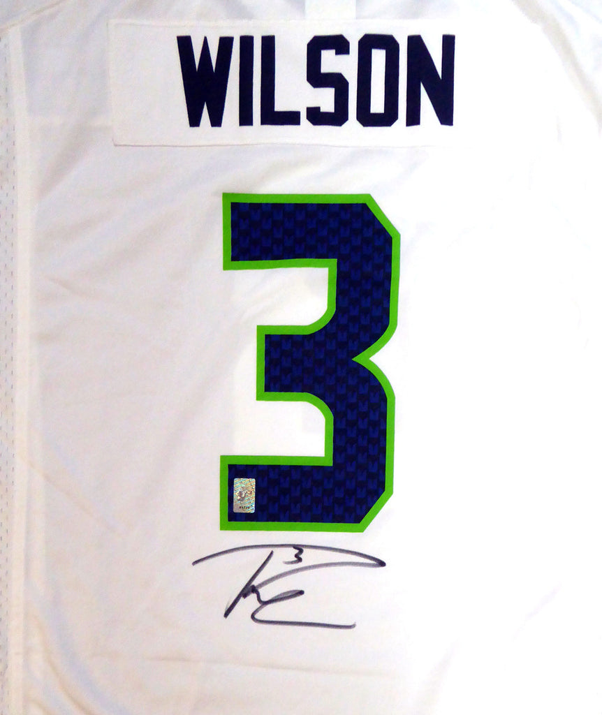 Seattle Seahawks Russell Wilson Autographed White Nike Jersey Size XL RW Holo Stock #105023