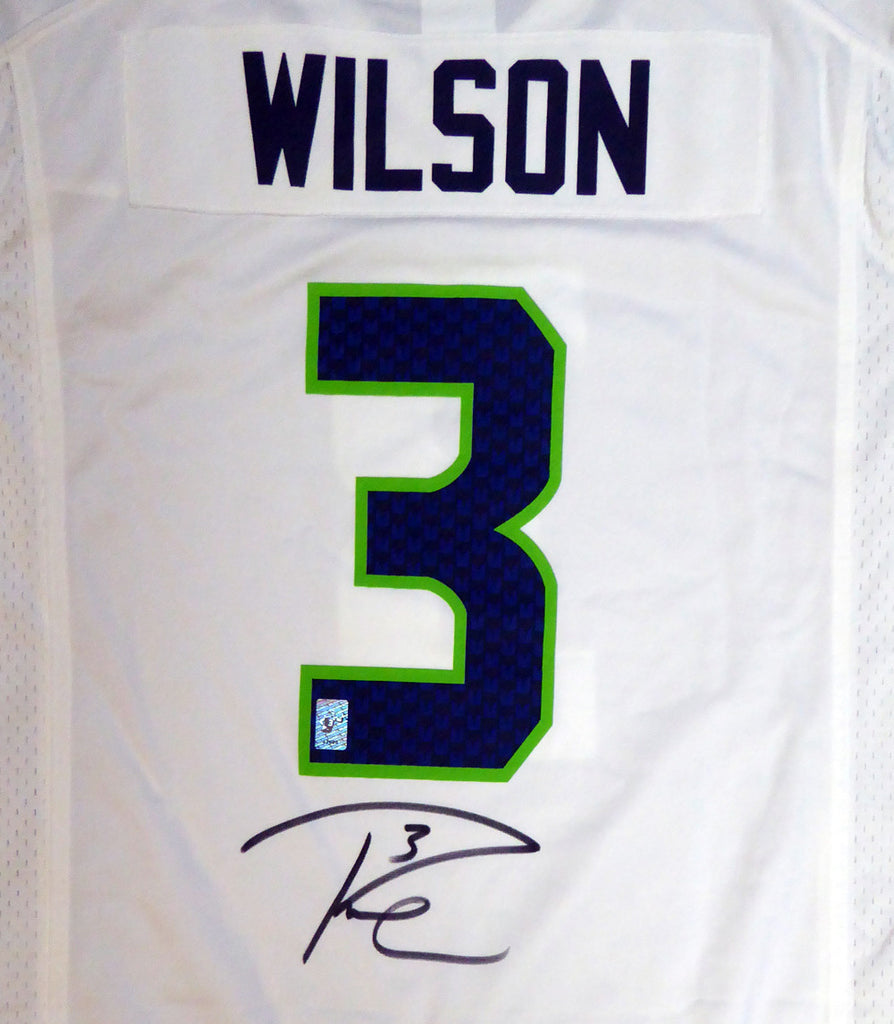 Seattle Seahawks Russell Wilson Autographed White Nike Jersey Size L RW Holo Stock #105022