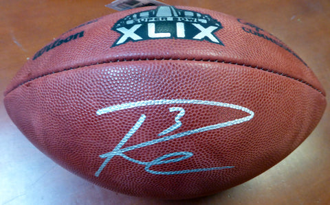 Russell Wilson Autographed Super Bowl XLIX Leather Football Seattle Seahawks RW Holo Stock #105020