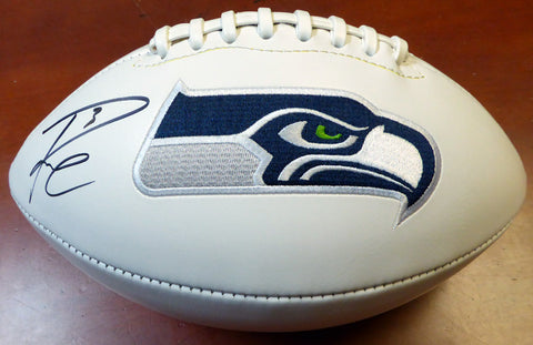 Russell Wilson Autographed White Logo Football Seattle Seahawks RW Holo Stock #105663
