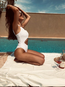ROMY ONE PIECE WHITE RIBBED SWIMSUIT
