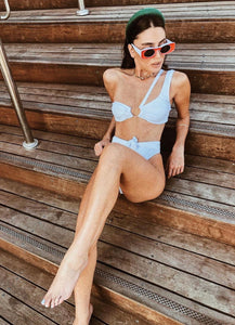 KATHRINE WHITE RIBBED TWO PIECE SWIMSUIT