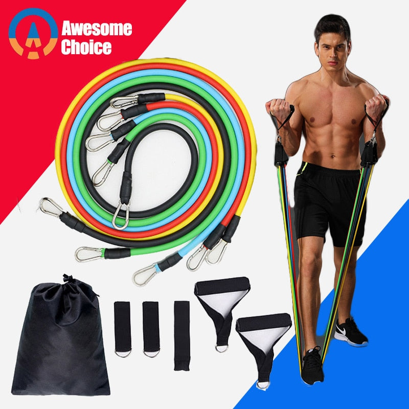Quality 11 Pieces Resistance Bands Set Yoga Exercise