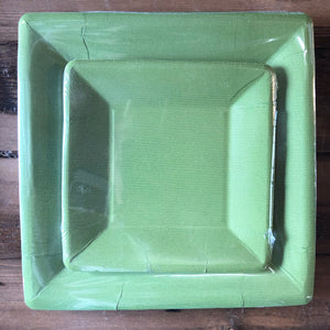Grosgrain Border Green Paper Plates