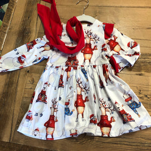 Little Girls Winter Animals Holiday Dress