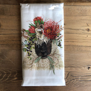 Sheep in Flower Crown Flour Sack Dish Towel
