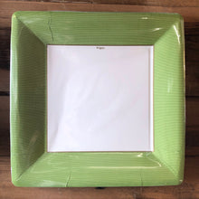 Load image into Gallery viewer, Grosgrain Border Green Paper Plates