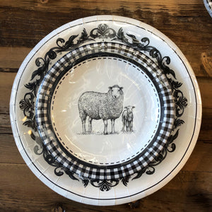 B&W Sheep Paper Plates