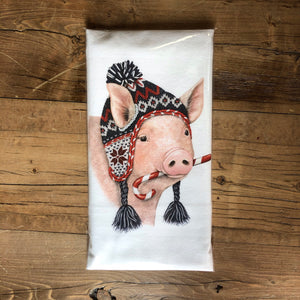 Pig Wearing Winter Hat Flour Sack Dish Towel