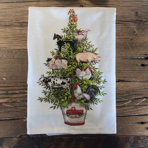 Farm Animal Christmas Tree Flour Sack Dish Towel