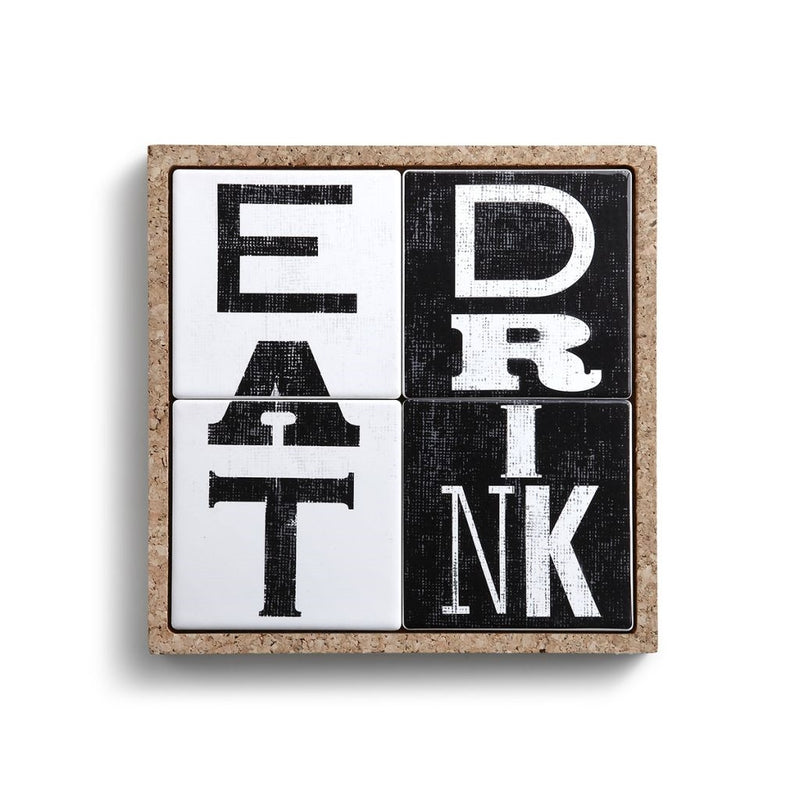 Eat Drink Ceramic Coasters in Cork Tray by Demdaco