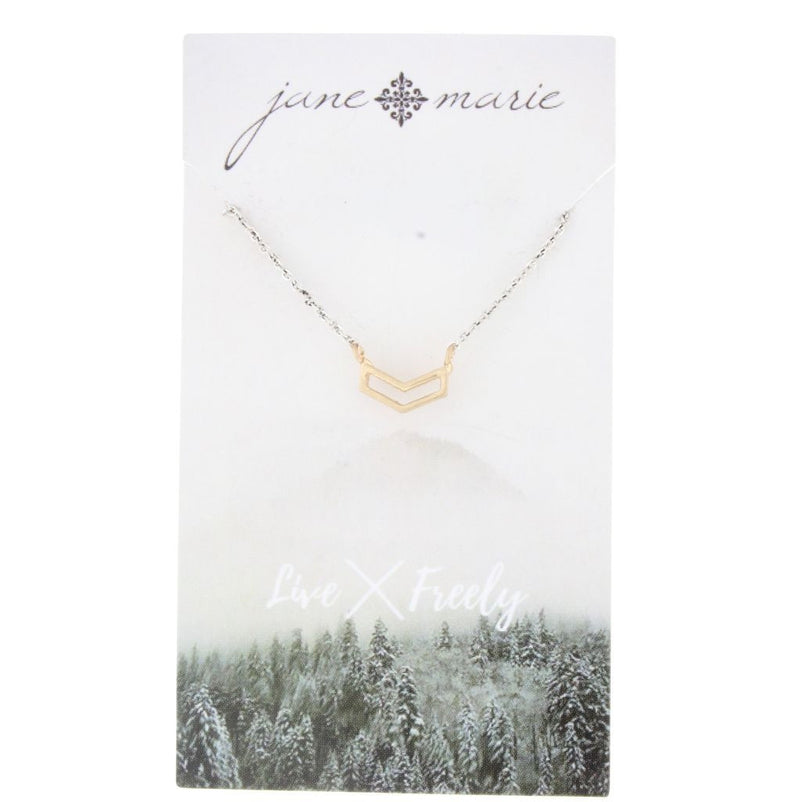 Silver Chain with Gold Chevron Necklace by Jane Marie