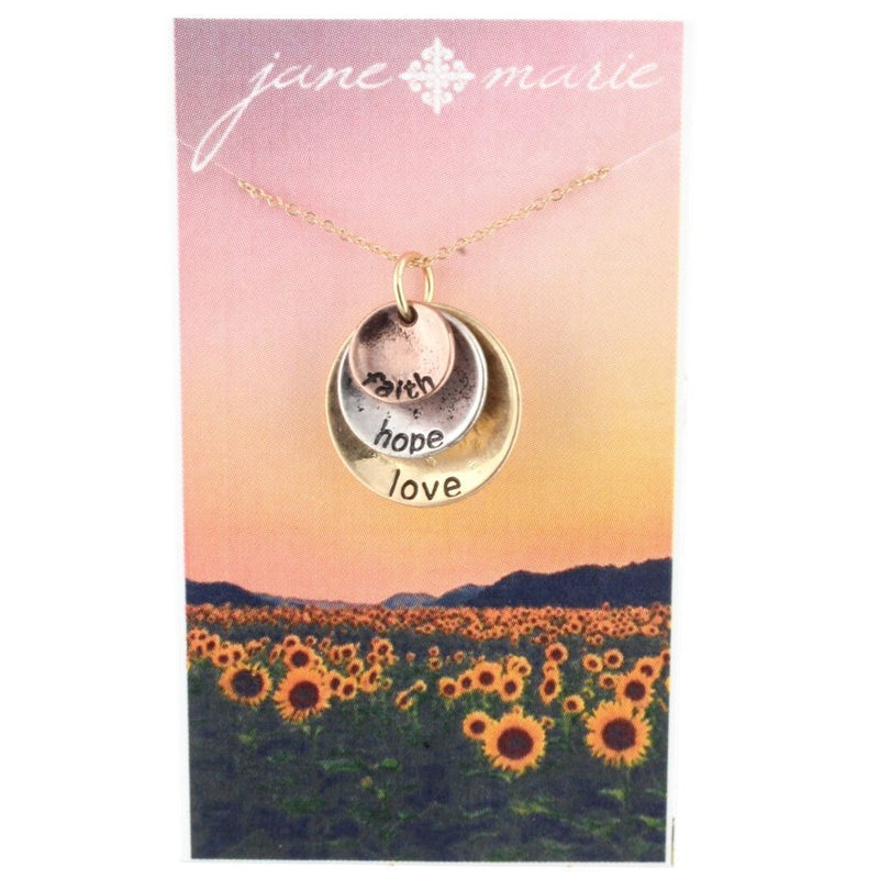 Faith, Love, Hope Disc Necklace by Jane Marie