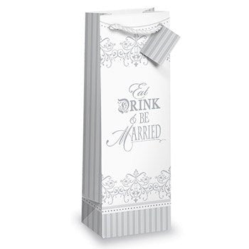 Eat, Drink & Be Married Gift Bag w/ Gift Tag & Rope Handles by Epic Products