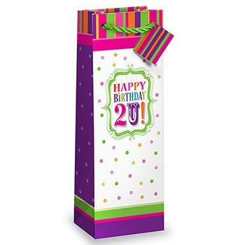 Happy Birthday 2 U Bright Colorful Bottle Gift Bag with Name Tag by Epic Products