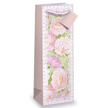 Floral and Lace Vintage Shabby Chic Printed bottle Gift Bag with Tag by Epic Products