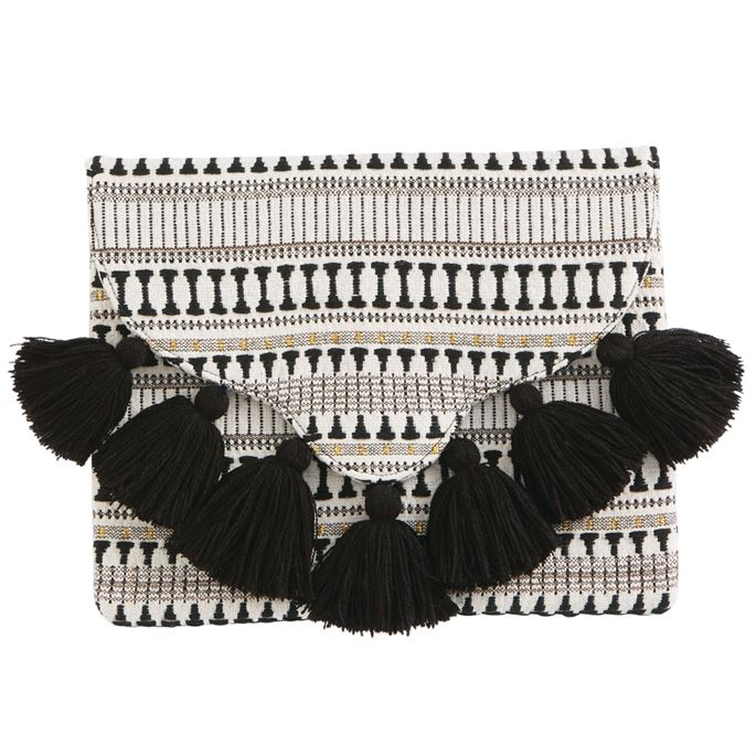 Black Woven Tassel Clutch By Mudpie