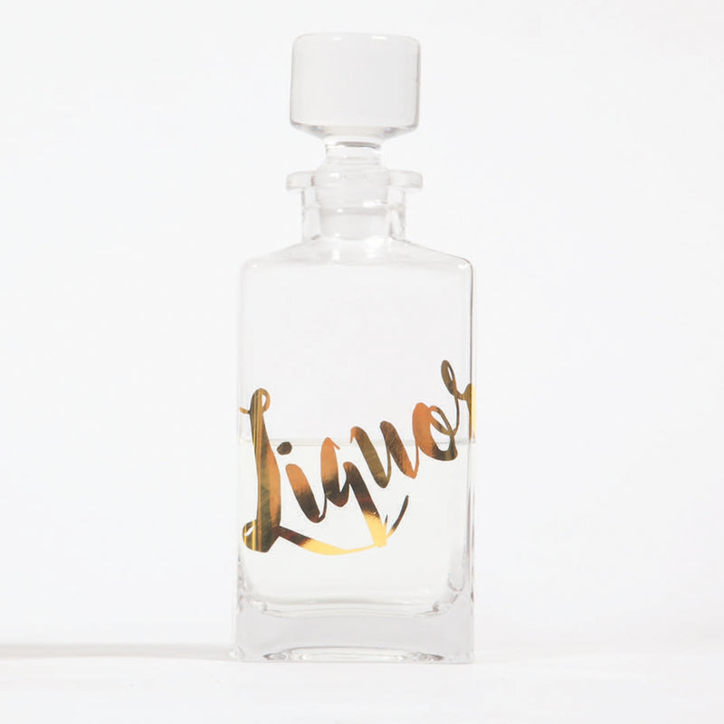 "Glass Decanter ""Liquor"" by 8 Oak Lane"