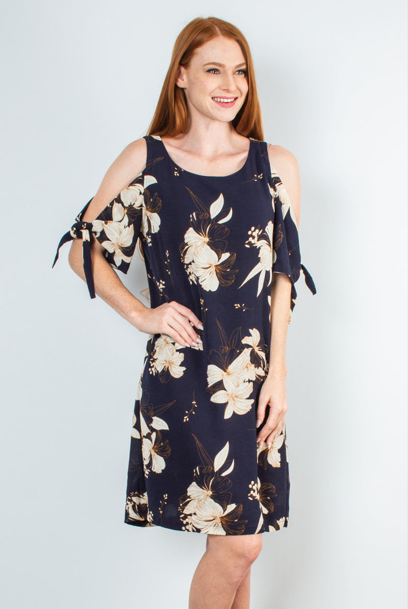 Honolulu Cold Shoulder Dress In Navy By Simply Noelle S/M
