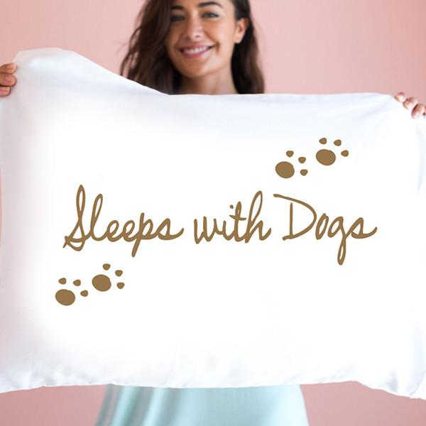 Sleeps With Dogs Single Pillow Case By Faceplant Dreams