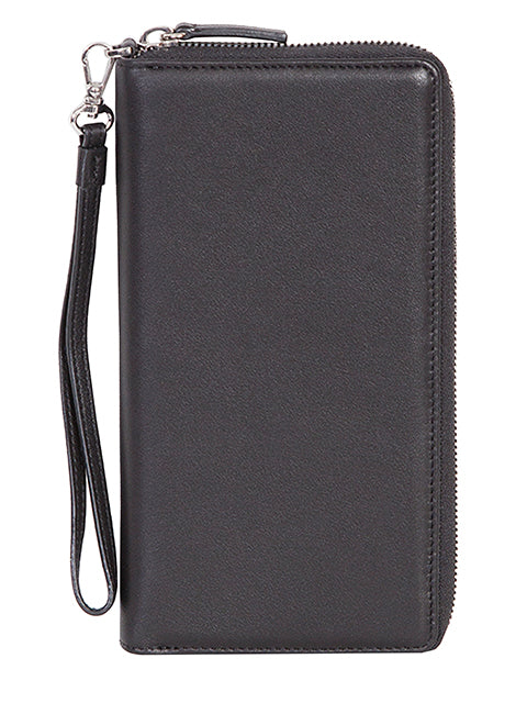 Black Zip Around Slim Clutch By Scully