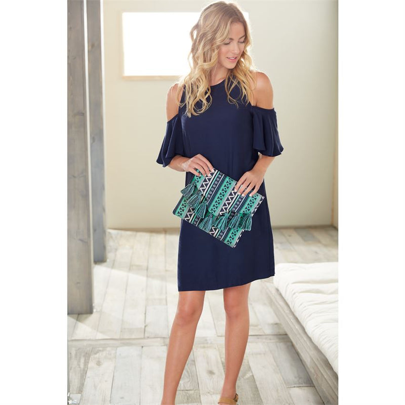 Blue Woven Tassel Clutch By Mudpie