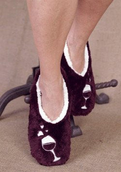 Vino Lover Footies Slippers by Faceplant Dreams