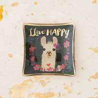"""Llive Happy"" Llama Mini Glass Tray By Natural Life"