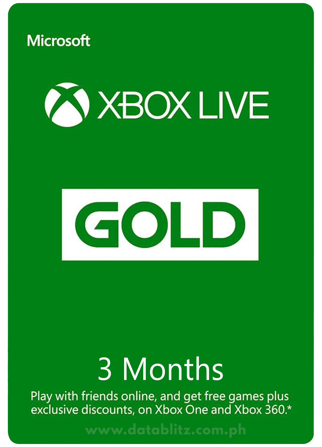 XBOX LIVE GOLD DIGITAL CODE: 3 MONTHS MEMBERSHIP US