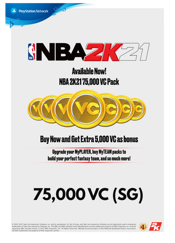 NBA 2K21 75,000 VC (SG) FOR PS4