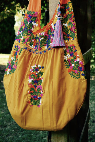 Boho Huipil Embroidered Handbag