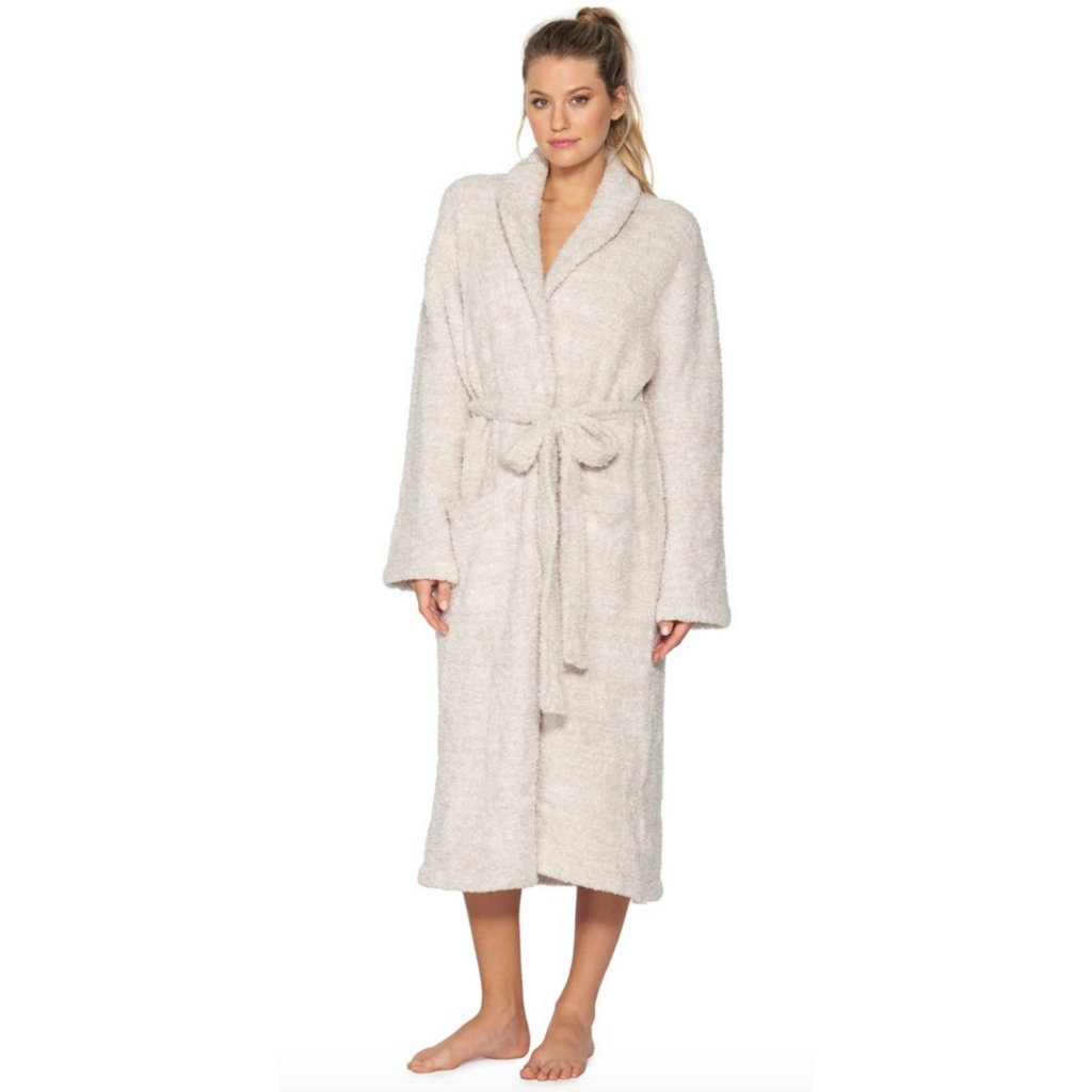 Barefoot Dreams CozyChic Heathered Robe, Stone/White