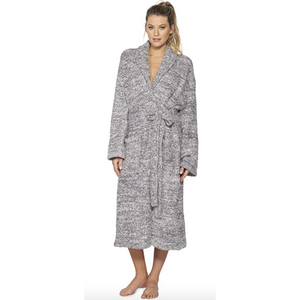 Barefoot Dreams CozyChic Heathered Robe, Graphite/White