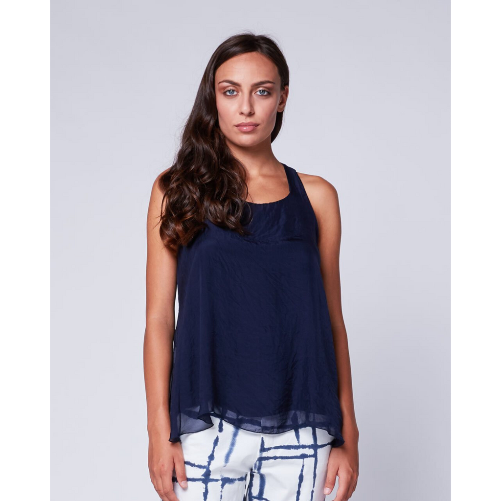 Sheer Silk Tank - Navy or Beige