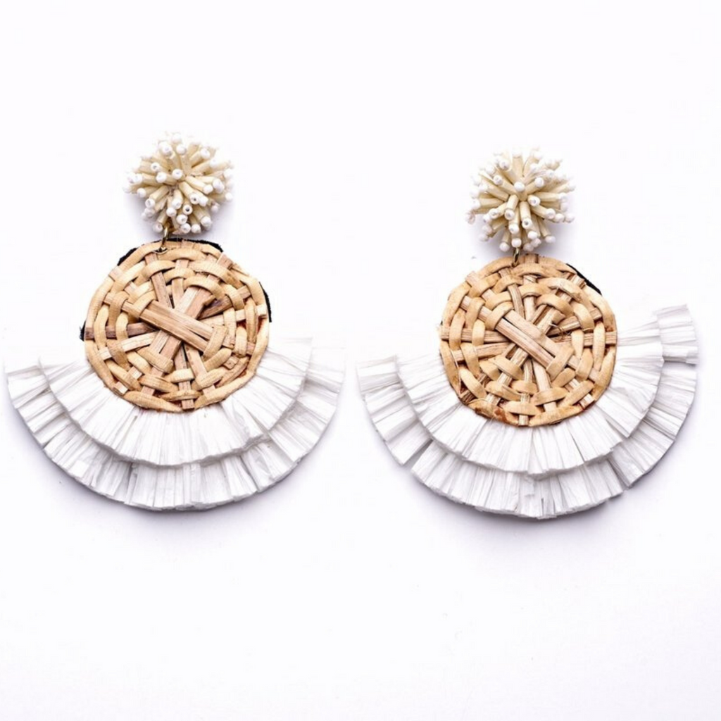 Oliphant Rattan Fan Earrings - White