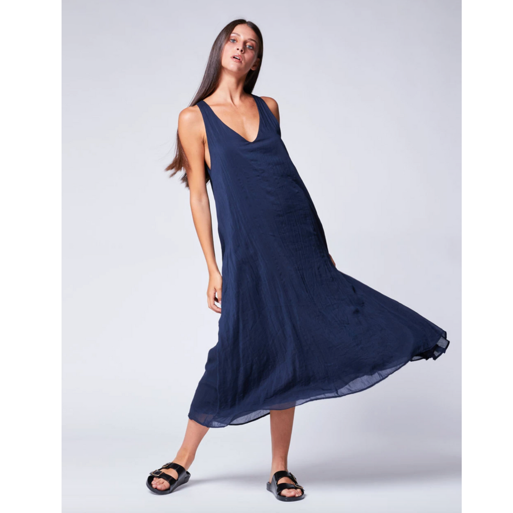 Light V-Neck Tank Dress - Navy