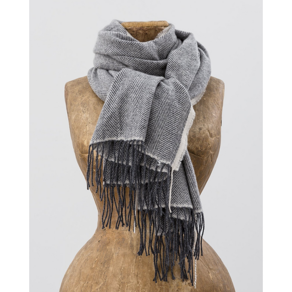 Avoca Cashmere Wool Sandymount Scarf, Grey & Cream