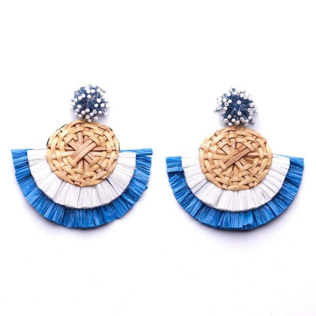 Oliphant Rattan Fan Earrings - White/Blue