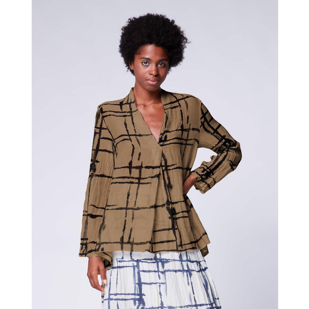 Light Mondrian Hi-Lo Popover Shirt - Camel